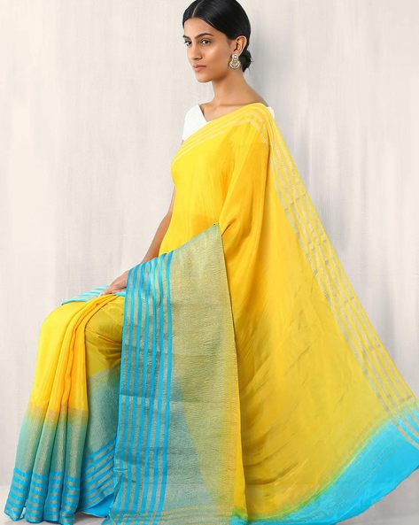 Pure Silk Chiffon Saree With Striped Border By Rudrakaashe-MSU ( Multi )