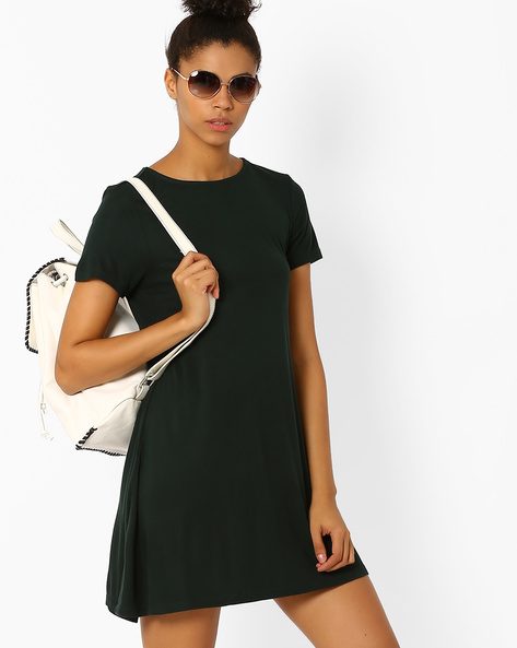 Solid Shift Dress By Only ( Green )
