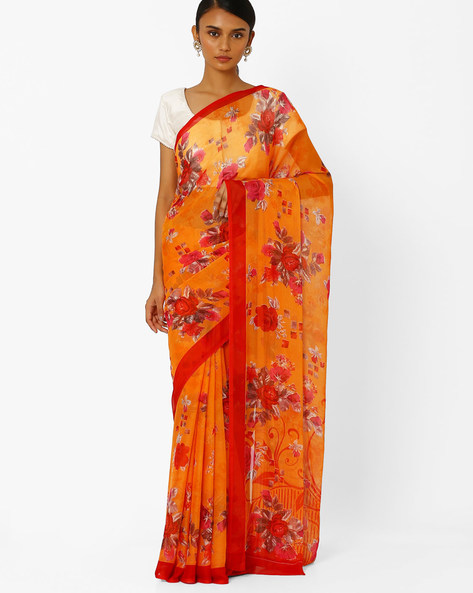 Floral Print Saree By Akoya ( Red )