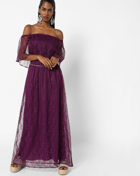 Off-Shoulder Lace Maxi Dress By Sassafras ( Purple )