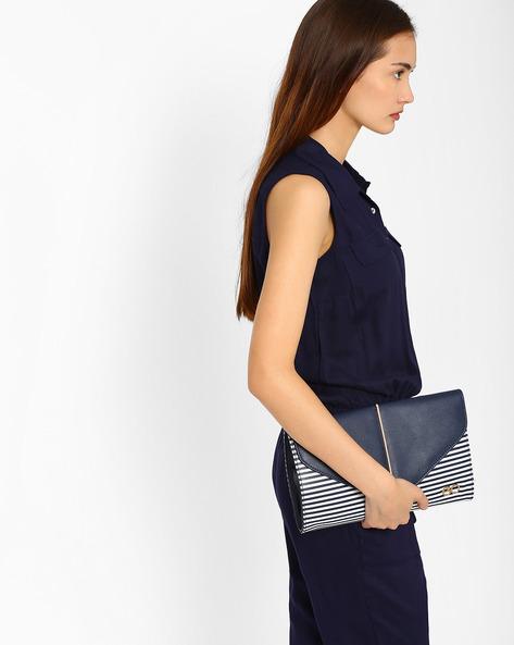 Striped Envelope Clutch By E2O ( Blue )