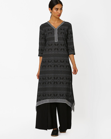 V-Neck Kurta With Dipped Hem By AJIO ( Black )
