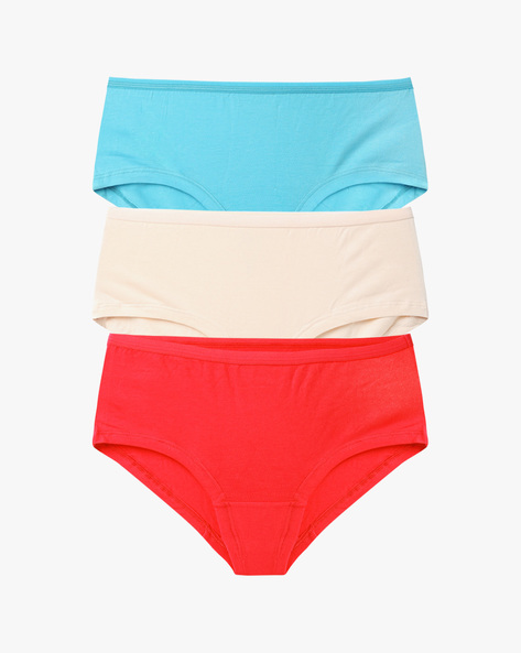 Pack Of 3 Hipster Briefs By Ginger By Lifestyle ( Red )