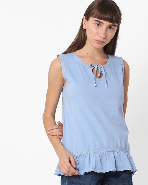 Sleeveless Top With Ruffled Hemline By DNMX ( Blue )