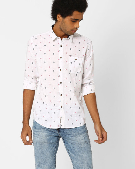Printed Cotton Shirt With Patch Pocket By SIN ( White )