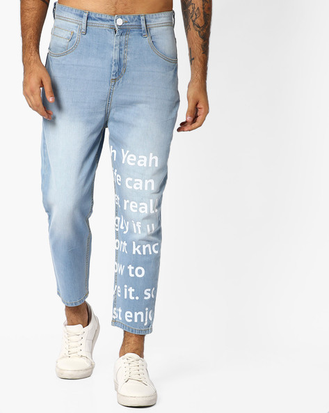 Ankle Jeans With Typographic Print By ADAMO LONDON ( Blue )