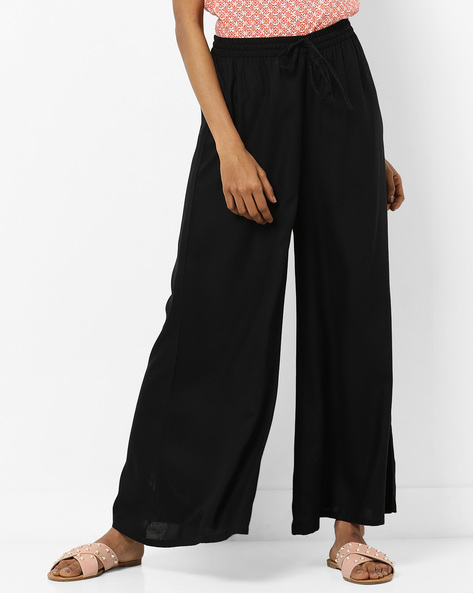 Mid-Rise Palazzo Pants With Tie-Up By Melange By Lifestyle ( Black )