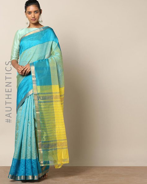 Handloom Mangalagiri Checked Cotton Silk Saree By Indie Picks ( Yellow )