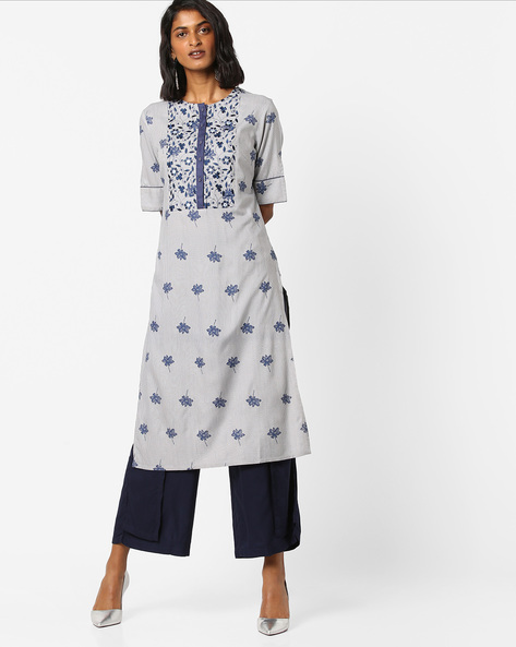 Floral Print Kurta With Embroidered Yoke By AJIO ( Lightgrey )