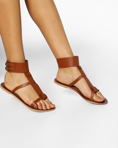 Leather Gladiator Sandals With Buckle Closures By AJIO ( Tan )