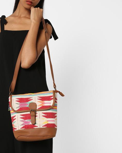 Jacquard Sling Bag By Kanvas Katha ( Tan ) - 460124235001