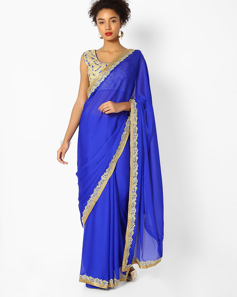 Georgette Saree With Embroidered Zari Border By Majestic Silk ( Blue )