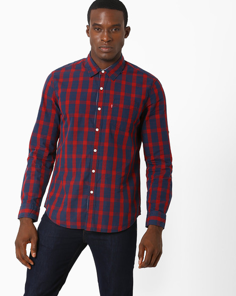 Checked Shirt With Patch Pocket By LEVIS ( Blue )