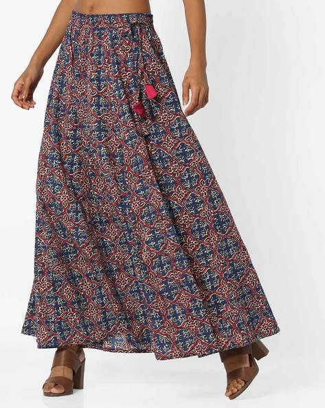 Printed Maxi Skirt By AJIO ( Indigo )