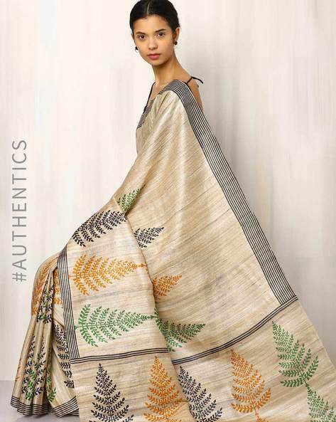 Handblock Print Pure Kosa Ghicha Silk Saree By Indie Picks ( Multi ) - 460019578001