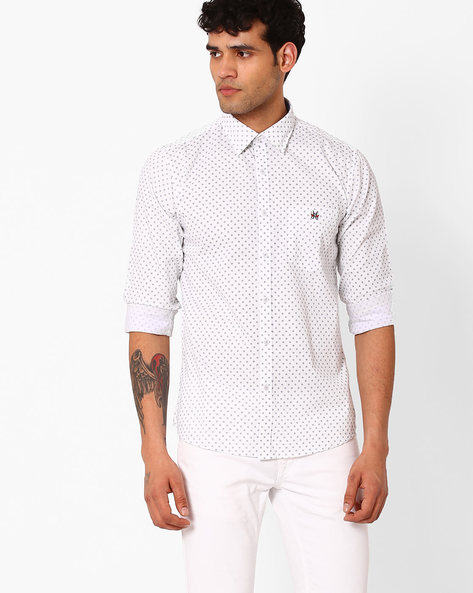 Slim Fit Shirt With Patch Pocket By CRIMSOUNE CLUB ( White )
