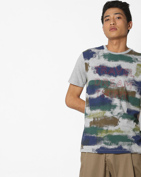 Graphic Print T-shirt By UNITED COLORS OF BENETTON ( Grey )