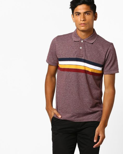 Heathered Polo T-shirt With Striped Panel By Aeropostale ( Burgundy )