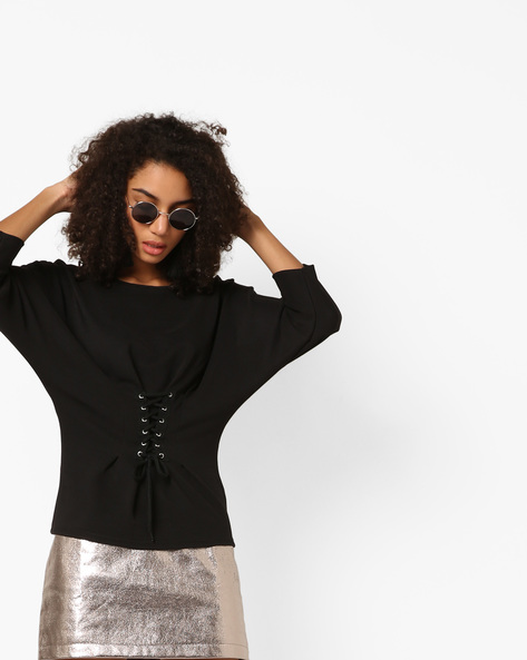 Corset Top With Batwing Sleeves By Only ( Black )