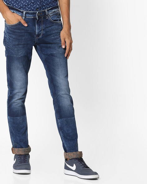 Mid-Rise Panelled Slim Fit Jeans By Killer ( Indigo )