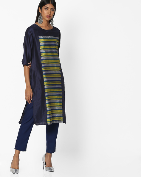Straight Kurta With Striped Panel By Melange By Lifestyle ( Navy )