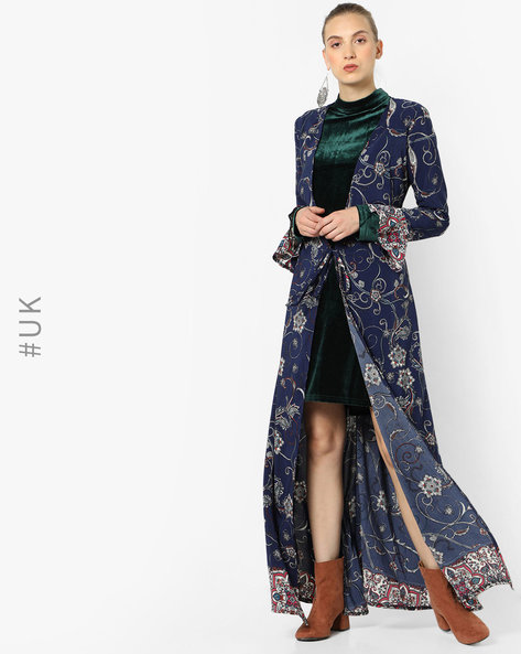 Floral Print Longline Shrug By OEUVRE ( Blue )