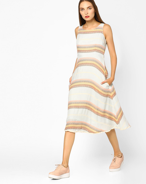 Striped Fit & Flare Dress By CODE By Lifestyle ( Offwhite )