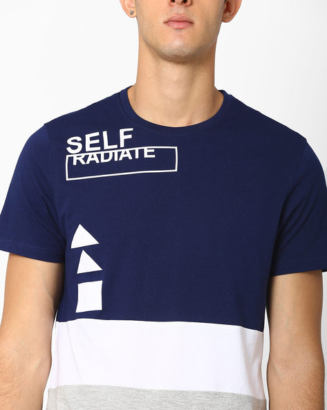 Cut & Sew Colourblock Crew-Neck T-shirt By AJIO ( Navy )