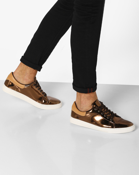 Lace-Up Sneakers With Metallic Finish By AJIO ( Gold )