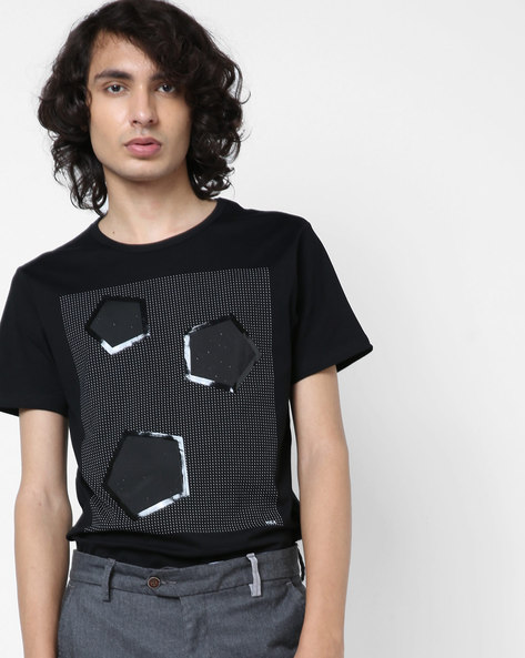 Graphic Print T-shirt With Perforations By RexStraut JEANS ( Black )