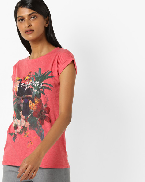 Tropical Print Crew-Neck T-shirt By Pepe Jeans ( Red )