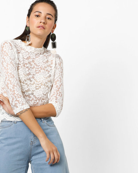 Floral Lace Top By Ginger By Lifestyle ( Offwhite )