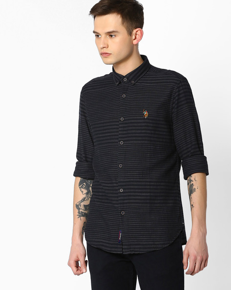 Variegated Stripe Shirt With Button By US POLO ( Assorted )