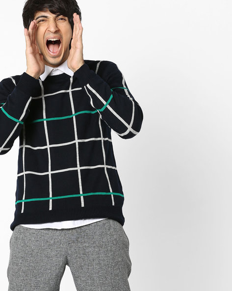 Checked Crew-Neck Pullover By NETWORK ( Navy )