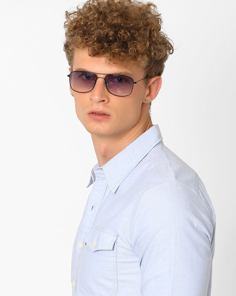 UV Protected Rectangular Sunglasses By Joe Black ( Lightblue )