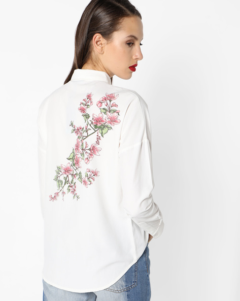 High-Low Shirt With Printed Back By AJIO ( White )