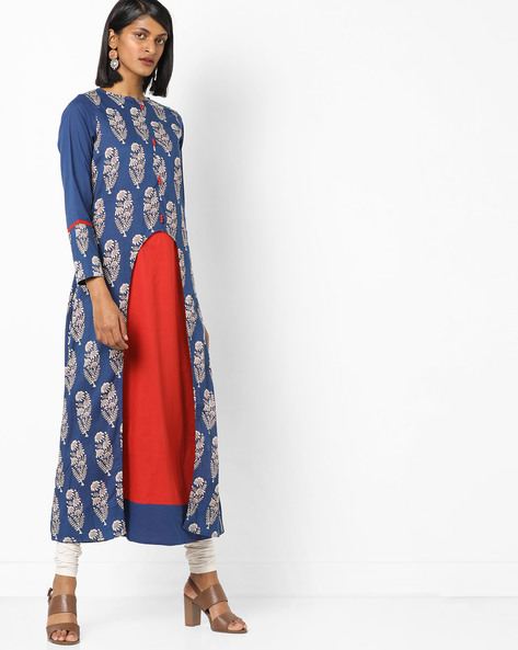 Printed Kurta & Churidar Set By Desi Fusion ( Blue )