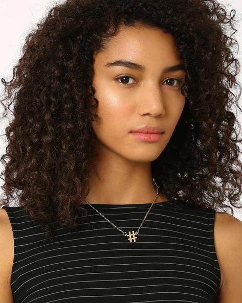 Hashtag Pendant With Chain By AJIO ( Gold )