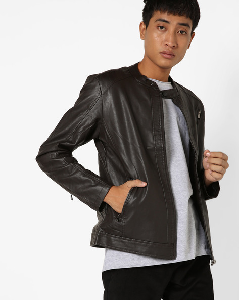 Biker Jacket With Front Zipper By The Indian Garage Co ( Brown )