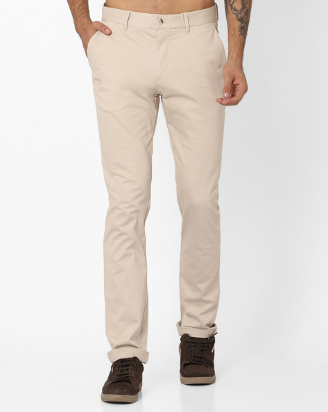 Flat-Front Slim Fit Trousers By US POLO ( Beige )