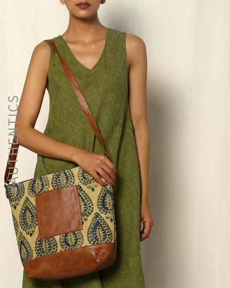 Handblock Print Kalamkari Kilim Vegan Leather Tote Sling Bag By A BIG INDIAN STORY ( Tan ) - 460083814001