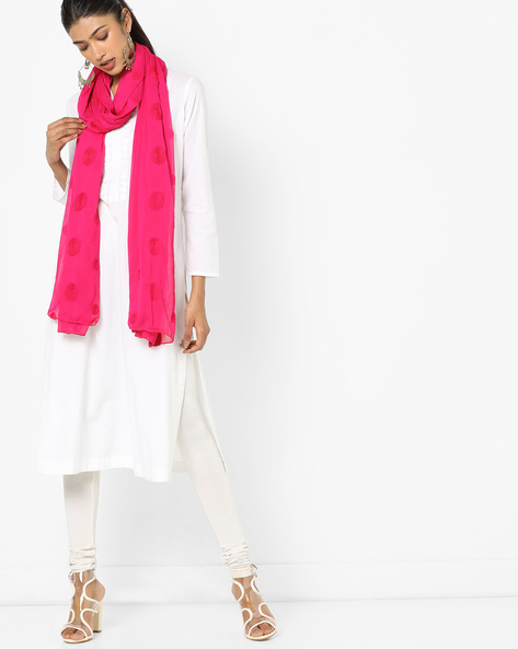 Polka-Dot Print Dupatta With Embroidery By Dupatta Bazaar ( Pink )