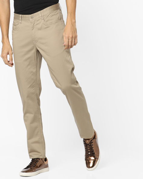Slim Fit Flat-Front Trousers By JOHN PLAYERS ( Ltgrey )