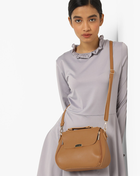 Satchel Bag With Detachable Sling By Lino Perros ( Beige )