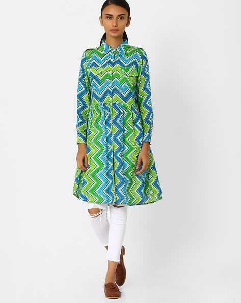 Chevron Print Kurta With Collar By Jiyaa ( Green )