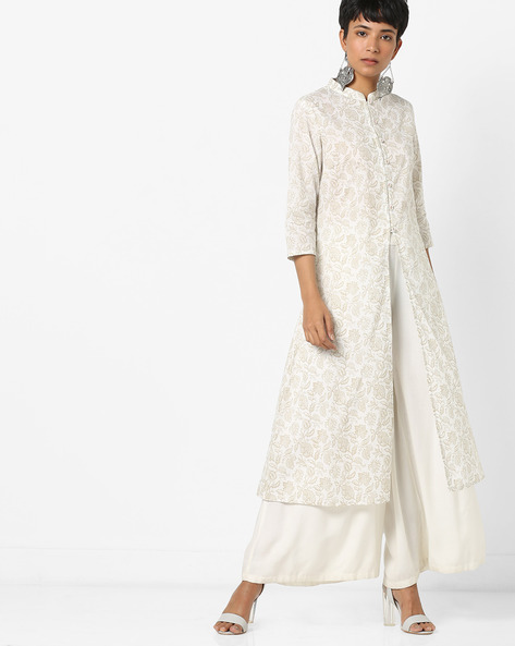 Floral Print Kurta With Front Slit By AJIO ( Beige )
