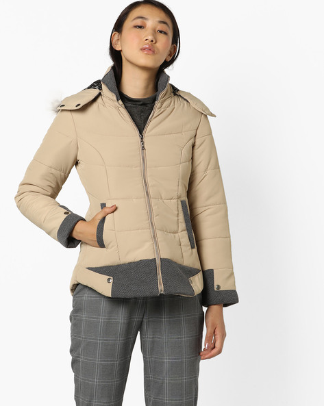 Hooded Quilted Jacket By Fort Collins ( Fawn )