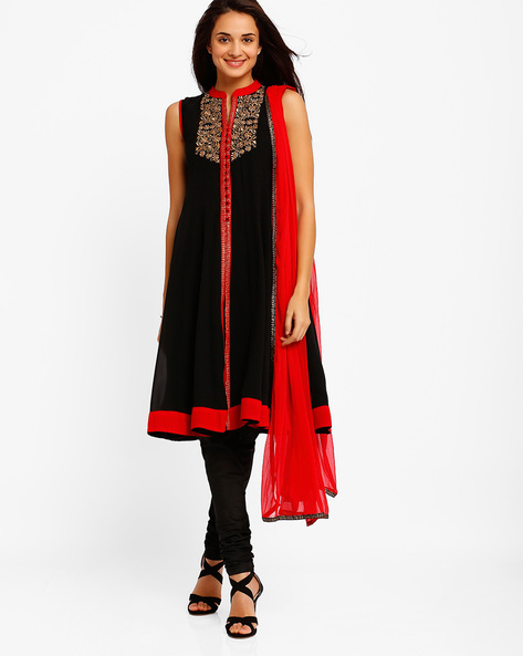 Flared Anarkali Churidar Kurta With Dupatta By AJIO ( Black )