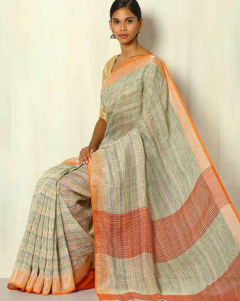 Handwoven Bengal Linen Check Saree With Zari By Indie Picks ( Multicolour )