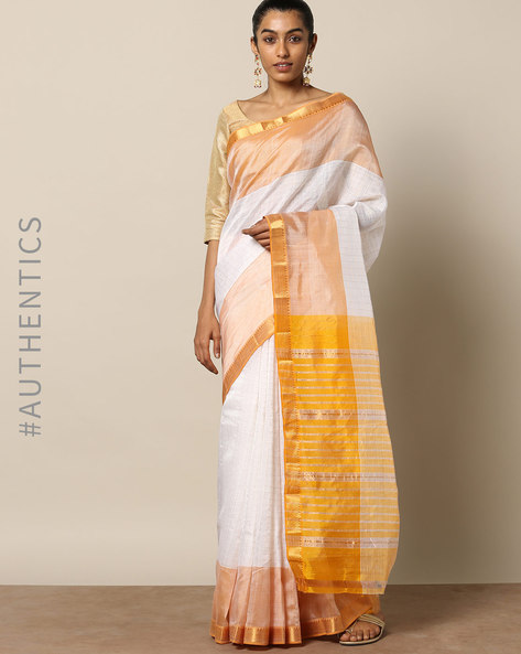 Handloom Mangalgiri Checked Cotton Silk Saree By Indie Picks ( Offwhite )